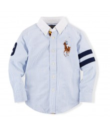 Polo Blue/White Stripped Oxford Shirt Wt Colored Pony