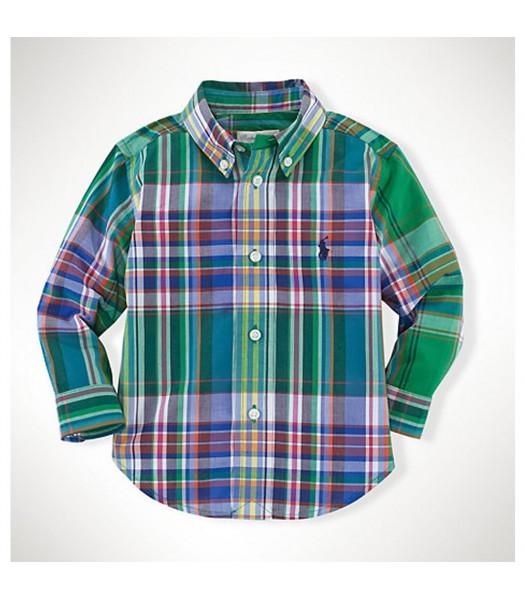 Polo Green Multi Colored Plaid L/S Shirt