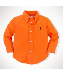 Polo Orange L/Sleeve Poplin Boys Shirt Wt Little Pony Baby Boy