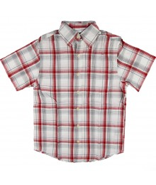 Arizona S/S White/Wine Plaid Shirt