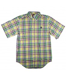 Chaps Yellow/Green Plaid S/Sleeve Shirt Big Boy