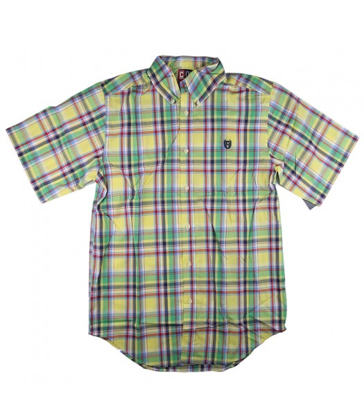 Chaps Yellow/Green/Blue Multi Plaid Shirt