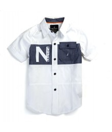 Nautica White Cotton Shirts With Chambray Across Chest