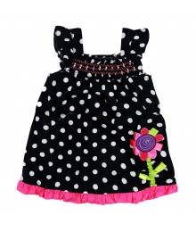 Youngland Black Polka Dress With Flowe Applique