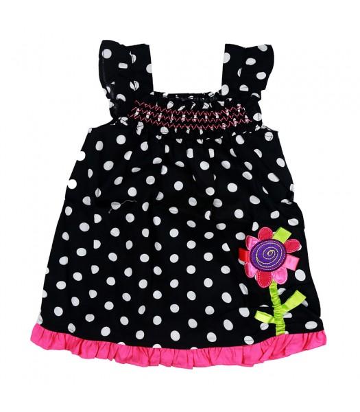 Youngland Black Polka Dress With Flowe Applique