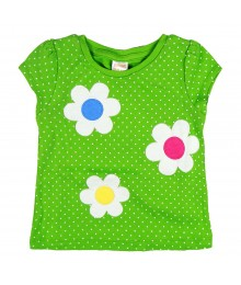 Gymboree Lemon Dotted Tee With Flower Appliq
