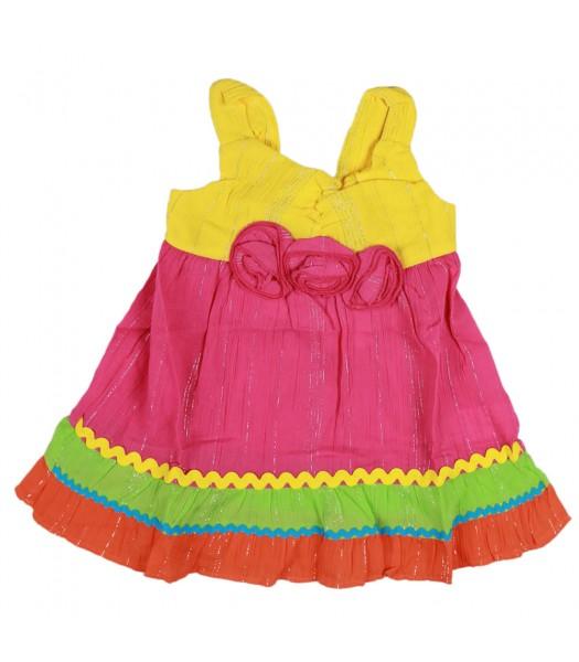 Youngland Pink/Yellow Clourblock Gauze Dress