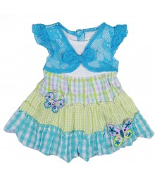 Youngland Tuq/Grn/White Seersucker Tiered Dress Baby Girl