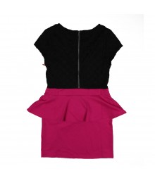 Sally M Black/Fush  Color Block Peplum Dress