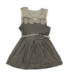 Sophia+Zeke Grey/Black/Ivory Crocheted Neck Striped Dress  Big Girl