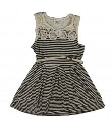 Sophia+Zeke Grey/Black/Ivory Crocheted Neck Striped Dress