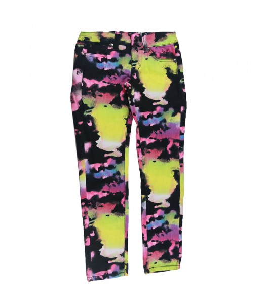 Justice Black/Neon Yellow/Purple Prit Skinny Jeans