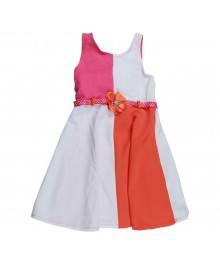 Youngland White/Pink/Orange Color Block Sundress Little Girl