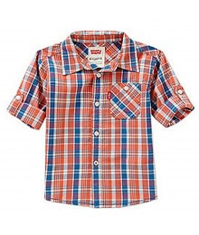 Levis Orange Plaid Woven Shirt