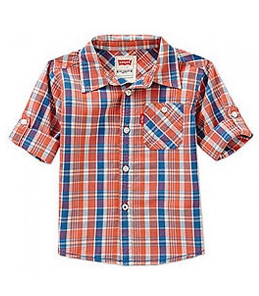 Levis Orange Plaid Woven Shirt