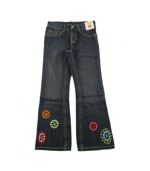 Gymboree Gem Dot Flower Flared Girls Jeans