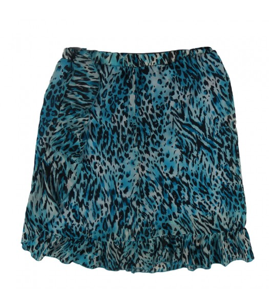 Amy Byer Turq Animal Print Chiffon Ruffled  Skirt