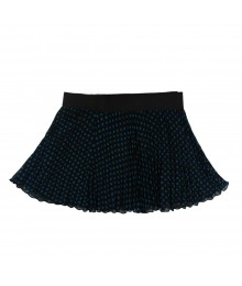 Beautees Turq/Black Dotted Pleated Chiffon Skort