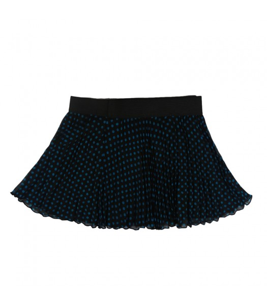 Beautees Turq/Black Dotted Pleated Chiffon Skort