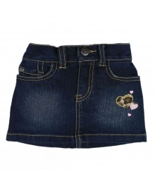Childrens Place Blue Denim Skort - Pink/Animal Print Heart Patch