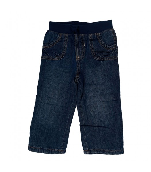 Old Navy Dark Denim Rib-Waist Pull On Jeans Baby Girl