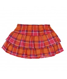 Okie Dokie Orange/Pink Plaid Layered Skort