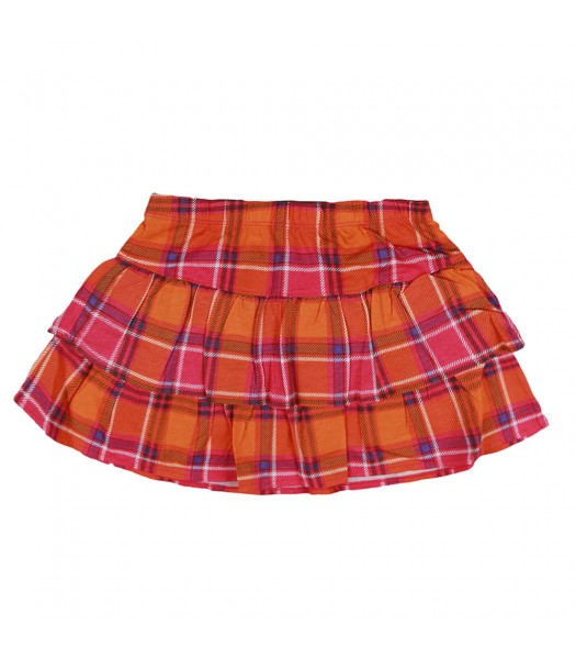 Okie Dokie Orange/Pink Plaid Layered Skort