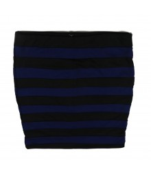 Stoosh Blue/Black  Striped Bodycon(Banded) Skirt Juniors