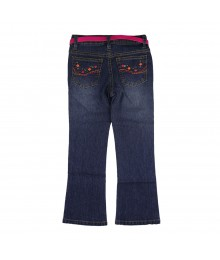 Squeeze Blue Girls Multicolored Stud N Neon Fush Belt Jeans