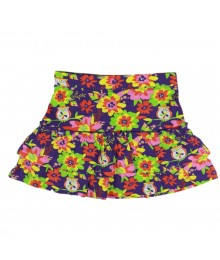 J Kahki Multi Colored Floral Tiered Skirt