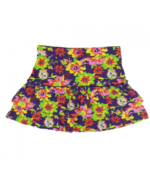J Kahki Multi Colored Floral Tiered Skirt