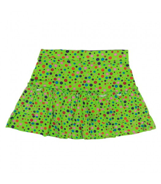 J Kahki Lemon Green Wt Multi Dots Tiered Skirt