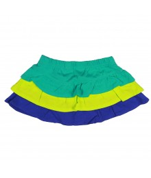 Jumping Beans Grn/Lemon/Blue Layered Skort