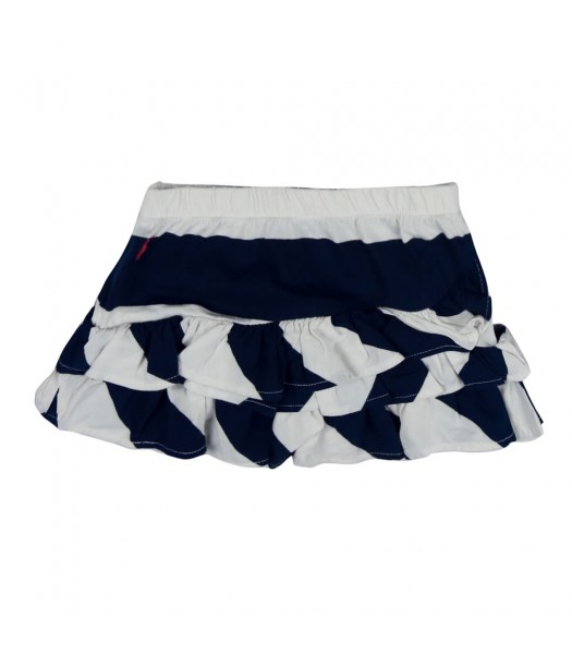 Polo Navy/White Ruffled Mini Skirt