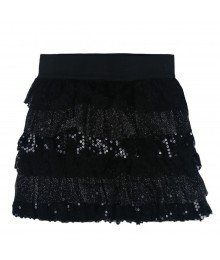 Amy Byer Black Shimmer/Sequin Tiered Skirt Small