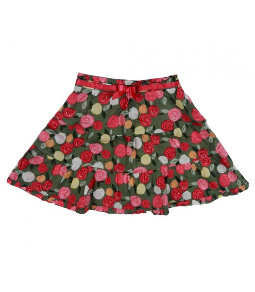 Gymboree Olive Grn Skirt Wt Pink Rose Print N Under Pant