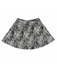 Iz Amy Byer Cream Lace Floral Short Skirt