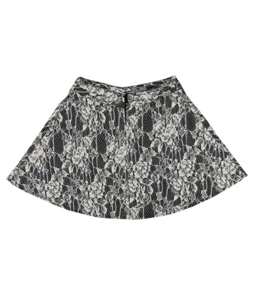 Iz Amy Byer Cream Lace Floral Short Skirt