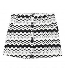 Lily White Black/White Zig Zag Button Front Skirt