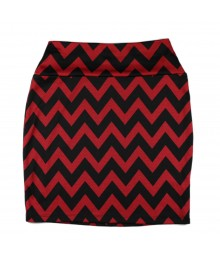 Living Doll Red/Black Chevron Bodycon Skirt