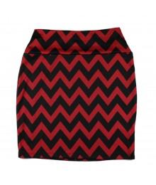 Living Doll Red/Black Chevron Bodycon Skirt