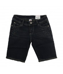 Total Girl Dark Blue Denim Studded Bermuda Shorts