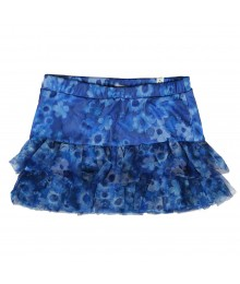 Justice Blue Wt Navy Floral Print Mesh Tiered Skort Big Girl