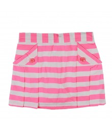 Gymboree  Coral/White Stripe Pleated Skirt