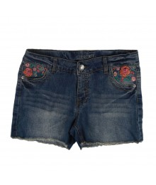 Cherokee Blue Girl Denim Bum Shorts Wt Multi Floral Embry