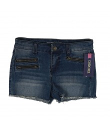 Cherokee Blue Girls Denim Bum Shorts -3 Zips Big Girl
