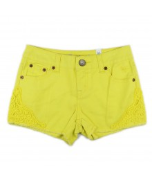 Justice Neon Yellow Bum Shorts Wt Lace Trimmings
