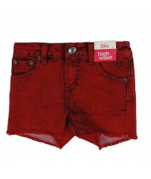 Justice Red Wash High Waist Bum Shorts