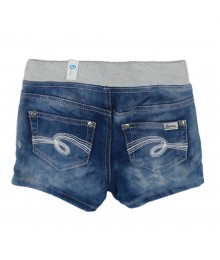Justice Blue Faded Knit Bum Shorts Wt Banded Waist