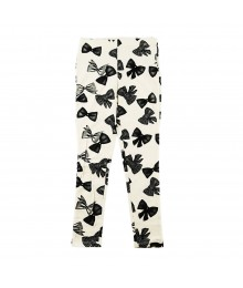 Total Girl Cream Wt Black Bow Print Leggings